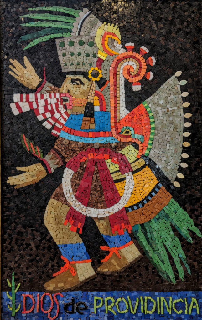 """""""Dios de Providincia"""", mosaic, 48"""" x 29 1/2"""", $8000 Wood frame, hand-written provenance from the artist on back."""